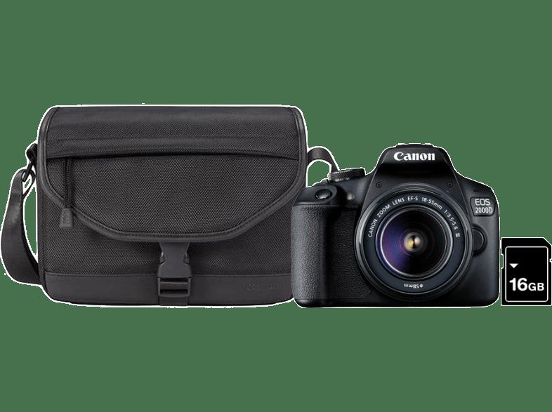 CANON EOS 2000D DSLR fényképezőgép + EF-S 18-55mm f/3.5-5.6 DC III + SB130 táska + 16GB SD kártya