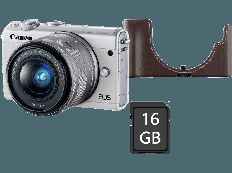 CANON EOS M100 MILC fényképezőgép, fehér + EF-M 15-45 mm IS STM + EH31FJ tok + 16GB SD kártya
