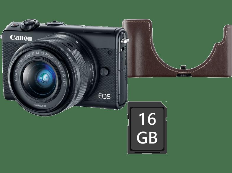 CANON EOS M100 MILC fényképezőgép, fekete + EF-M 15-45 mm IS STM + EH31FJ tok + 16GB SD kártya